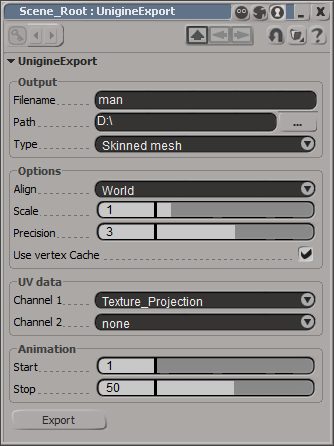 Softimage export plugin GUI